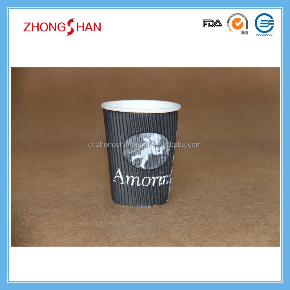 8oz Disposable ripple walll paper cup
