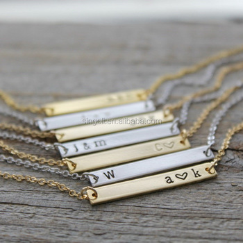 2017 Delicate Personal Bar Necklace Initial Bar Necklace 18""