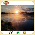 led beautiful lake sunrise scenery canvas painting for home decoration, light up oil art painting
