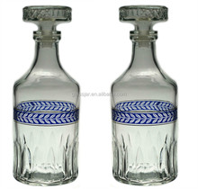 Blue and Gold Glass Bottle Decanter, Vintage English Cocktail Whisky,Glass Wine Bottle Wholesale