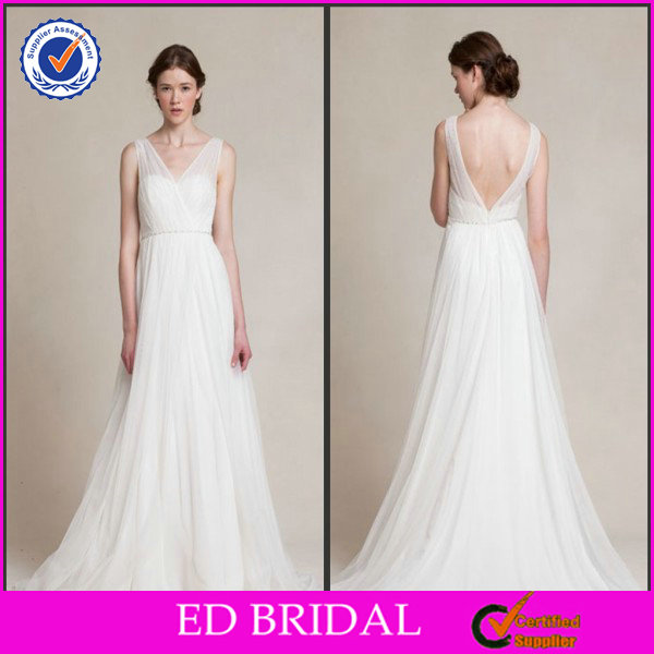2014 Flowing Chiffon Floor Length White Country Style Wedding Dresses Whole Sale China