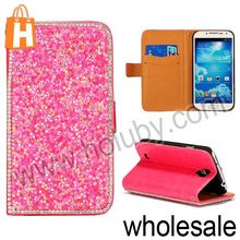 Luxury Diamond Powder Skin Cover Wallet Style Stand Leather Cases for Samsung Galaxy S4 i9500 i9505 i9508 (Rose)