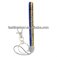 Royal Blue and Gold Sparkling Crystal Keychain
