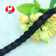 classic design black glass tube sew on ribbon beaded trimming