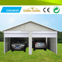 Easy assemble 2 cars cheap mobile metal carports for sale