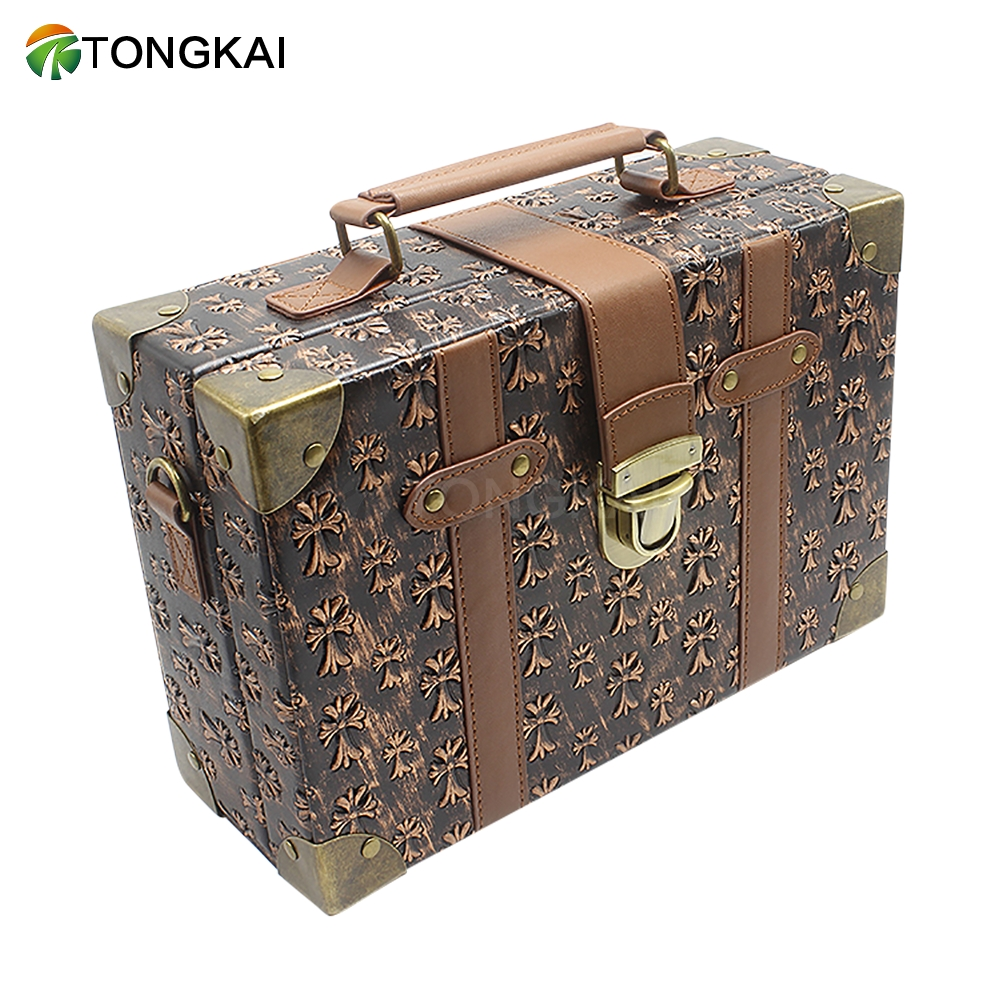 Portable Vintage Leather Travel Suitcase Luggage For Lady