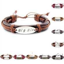 Big Middle Little Three Sisters Mens Genuine Leather Wrap Cuff Bracelets for Women Friendship Gift Jewelry Custom ODM OEM