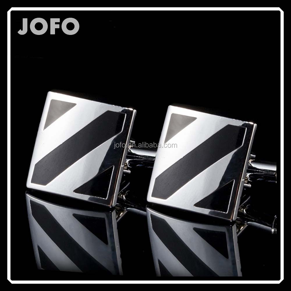 3WSC-003 Dress Suit Shirt Men Enamel Square Diagonal Stripes Cufflinks