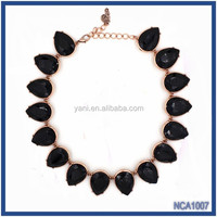 2015 Canada and Australian Fashion New Gold Resin Stone Necklace Designs in 10 Grams Latest Model Fashion Resin Beaded Necklace