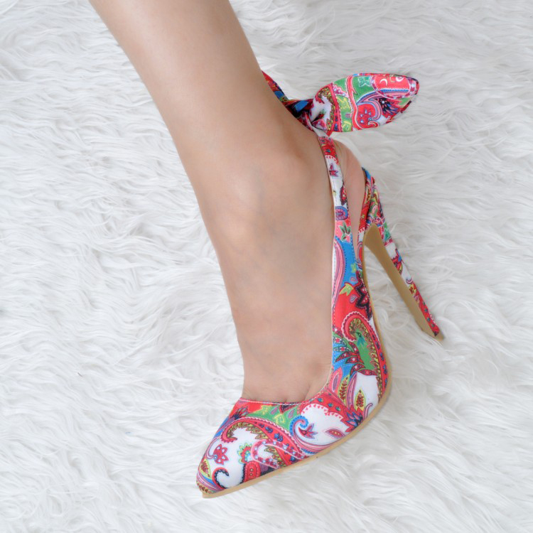 Brand Elegant Office Ladies Pump Shoes Multicolor Party Wear Printing Leather High Heel Dress