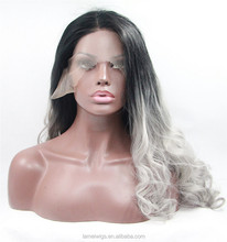 S0186 Grey long curly lace front hair wigs without bangs for cosplay,high heat resistant fiber