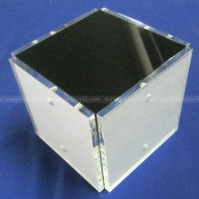 4 sided Square Acrylic Magnetic Photo Cube, 4x4 Lucite Cube Picture Frame, Clear Cube Block Frame