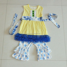 Hot wholesale 2016 summer girls boutique clothing baby outfits 2 piece set skirt&pant sets