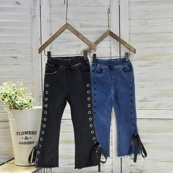 2-7 years Wholesale 2017 Hot Selling Girls Denim Bow Pants Autumn Holes Fashion Girls Jean Flare Pants