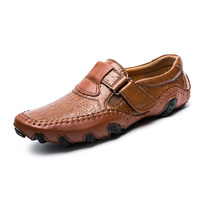 Crocodile Pattern Men Genuine Leather Classic Driving Loafer Shoes