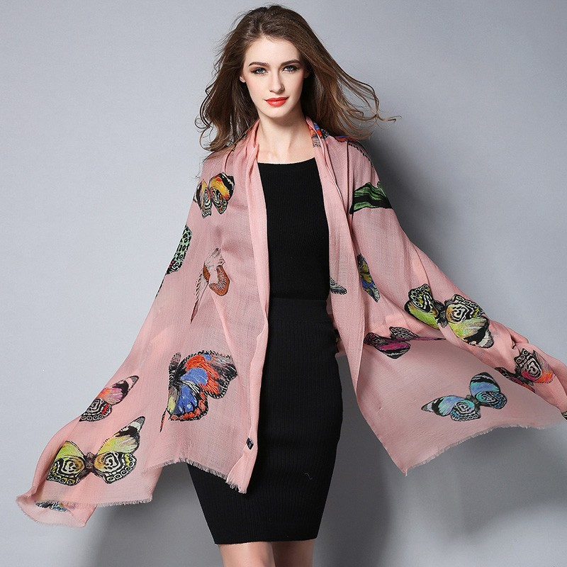 Pink Butterfly Digital Printing Scarf