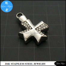 Cross Cremation Urn Pendant Ash Stainless Steel crystal jewelry for womens