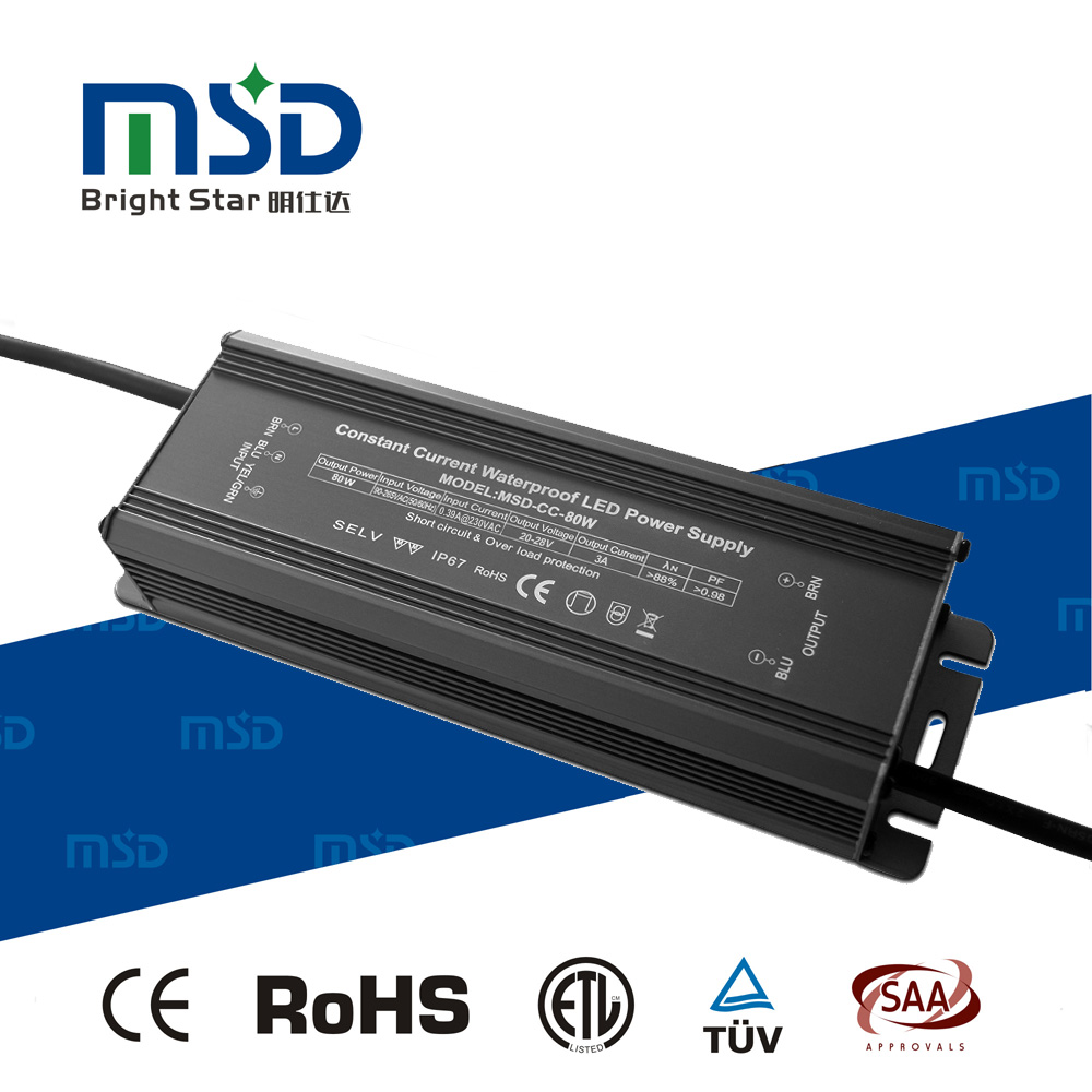 High PF Low Ripple Noise Free Waterproof IP67 Constant Current LED Power Supply 80W 2400mA LED Driver with CE RoHS