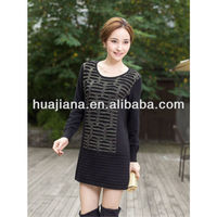 100% cashmere knitting woman's crewneck winter dress