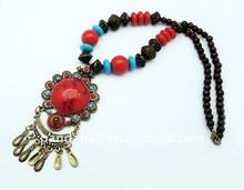 Tibetan Style Turquoise Ethnic Necklace Exotic Jewelry(NJEW-Q029)