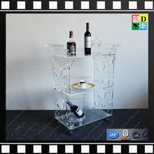 newest design top quality acrylic trolley with four wheels acrylic bar trolley for hotel new PMMA plexiglass acrylic wine cart