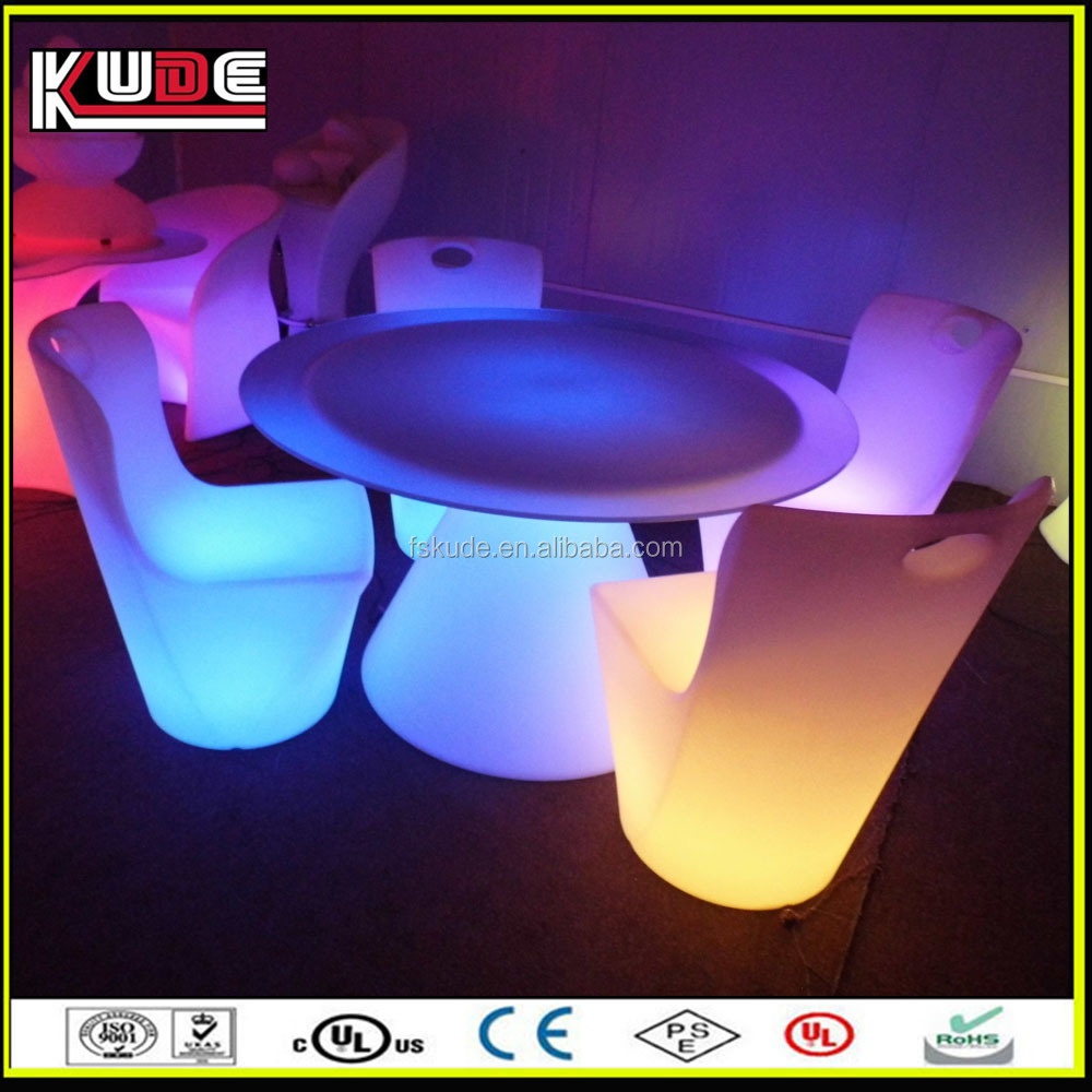 outdoor dinner LED light plastic chairs with rechargeable battery
