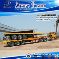 Hot sale 3 axles 40ft flatbed trailer/truck trailers/container semi trailer with head board