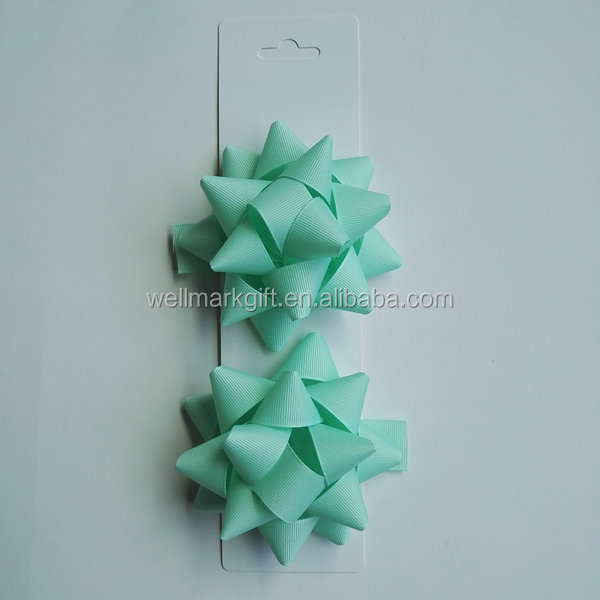 Christmas Gift Packaging Woven Grosgrain Fabric Self Adhesive Star Bow