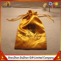 Hot Selling Custom Logo Printe Yellow Satin Hair Bag