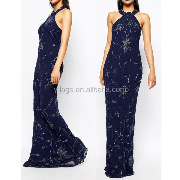 Embellished High Neck Trophy Maxi Dress Fashion Elegant Party Dress Sleeveless For Woman R5115