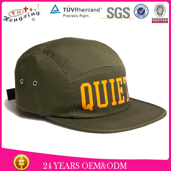 Fashion Design Your Own 100% Cotton 5-panel Camper Hat Custom Logo 5 Panel Hat Wholesale