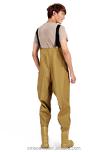 OEM camo chest waterproof breathable wader for fishing rubber yellow waders
