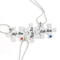 Fashion necklace 2016 stainless steel ball chain personalized puzzle piece necklace