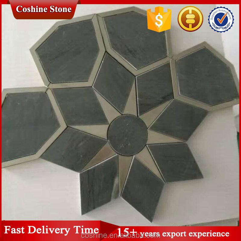 Waterjet deep green color marble stone mosaic tile
