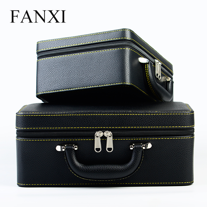 FANXI New Handmade Box with Zipper&Handle 2 Tier Drawer Ring Earrings Pendant Storage PU Leather Travelling Jewelry Display Case