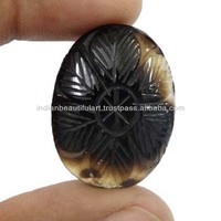 NATURAL AGATE ELLIPSE STONE FLORAL CARVING CABOCHON AFRICAN GEMSTONE