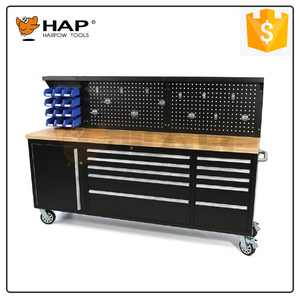 Garage Storage Heavy Duty Tool Cabinet With Wooden Worktop