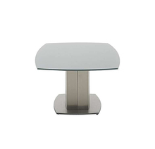 Grey tempered glass top brushed stainless steel pedestal base mdf legs modern coffee table