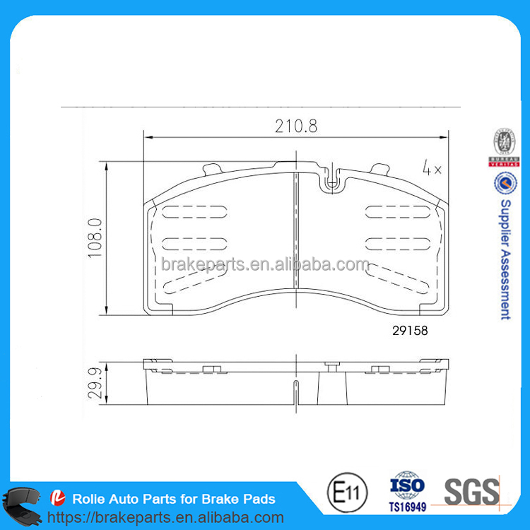 WVA29158 High Quality Heavy Duty Truck Brake Pads Car Parts for Brake System