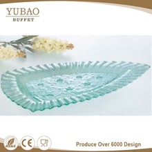 Guangzhou Manufacturer Hot Plate Glass Top, Leaf Shape Glass Plate, Natural Leaf Plates