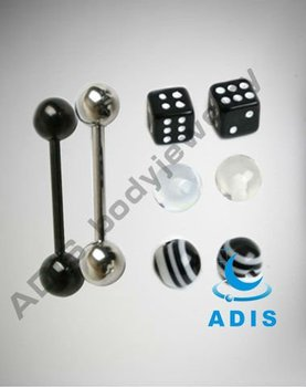 14 Gauge Black and White Dice Barbells with Extra Balls