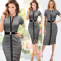 C21399B Womens Elegant Zipper Front Belted Wear to Work Business Casual Office Lady OL Career Party Stretch Bodycon Dress