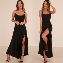 new design bulk wholesale adult clothing lady fitness black cotton ruffled long maxi dress woman