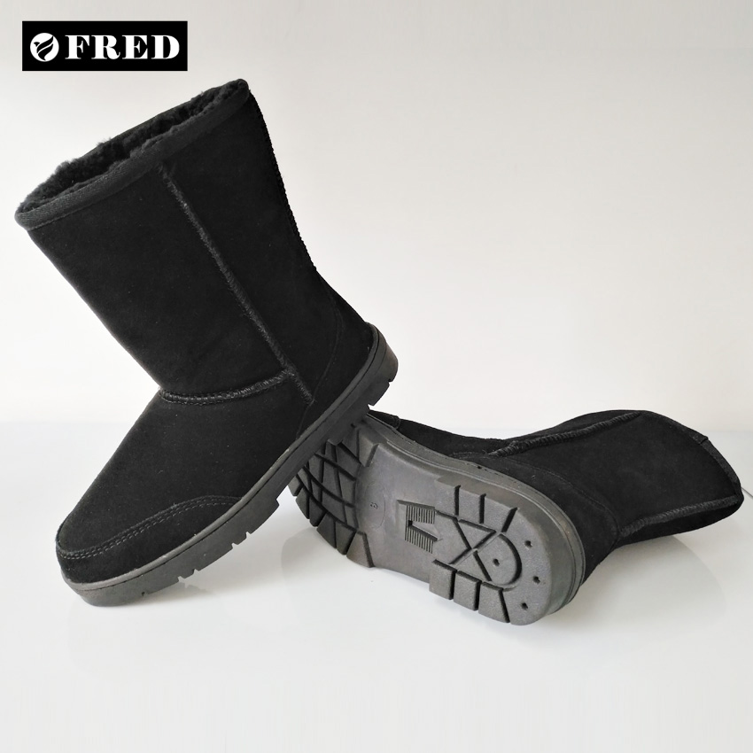 Black 9 inch durable suede upper Australia sheepskin lining winter boots with TPR outsole