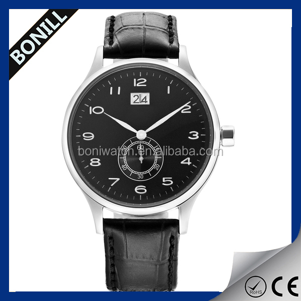 High quality arabic numbers watch with calendar,luxury leather watch