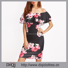 French fashion clothing new arrival women Black Floral Print Off The Shoulder Ruffle Dresses