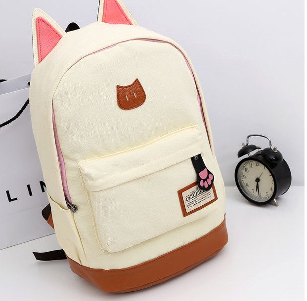 2017 wholesale fashional girls cat ears cute school canvas backpack <strong>bag</strong>