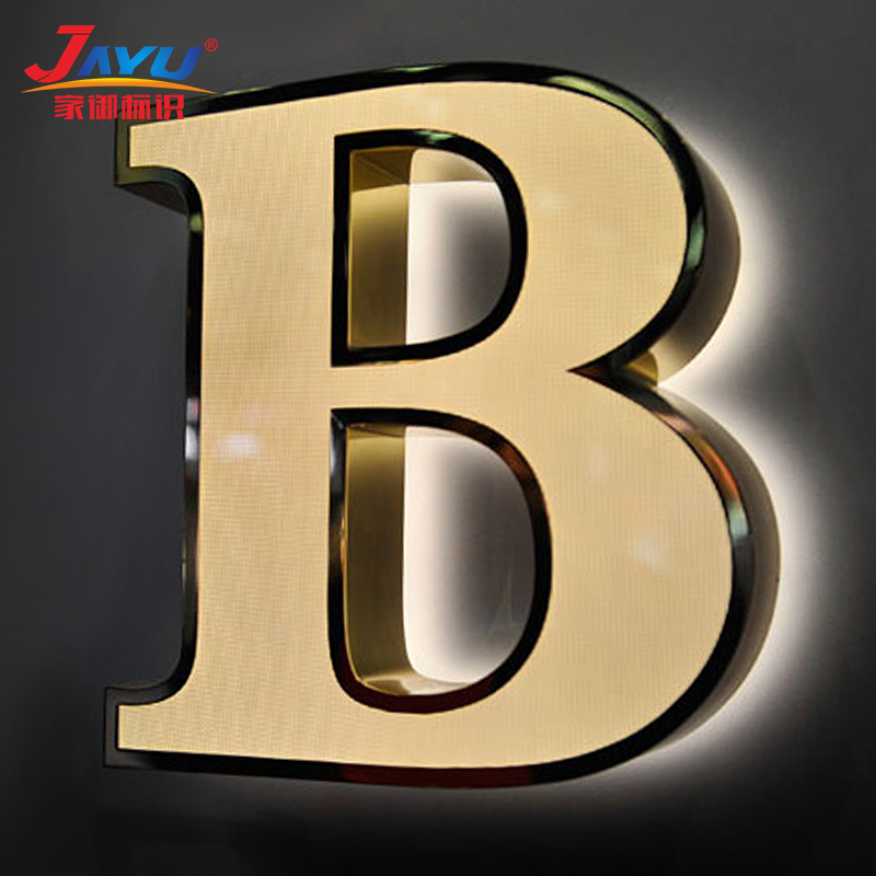 Signage Polished Stainless Steel 3D Led Illuminated Big Frontlit Channel Letter For Wall