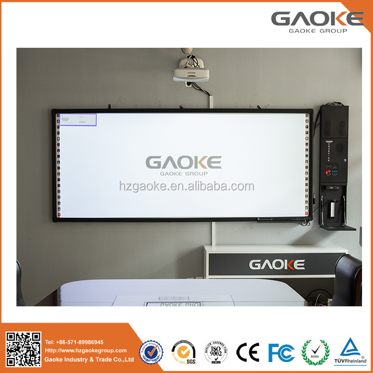 Gaoke interactive finger touch infrared whiteboard with speaker for office or school