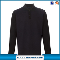 Man long sleeve contrasting pima cotton polo shirt